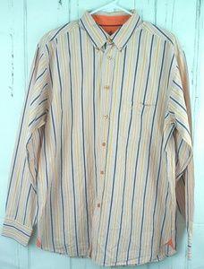 J. Crew Button Front Shirt Size L L/S Orange